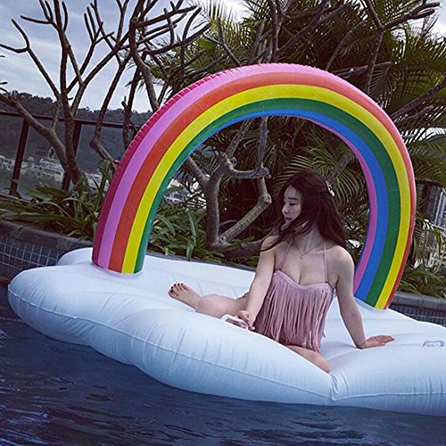 Amazon.com: Giant Inflatable Raft,Float Lounger Toys Water-Sport For Adults And Kids (Rainbow Swimming Island) 240X145x135cm Ourdream: Sports & Outdoors