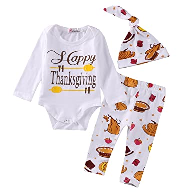 Amazon Com Newborn Baby Long Sleeve My First Thanksgiving Romper