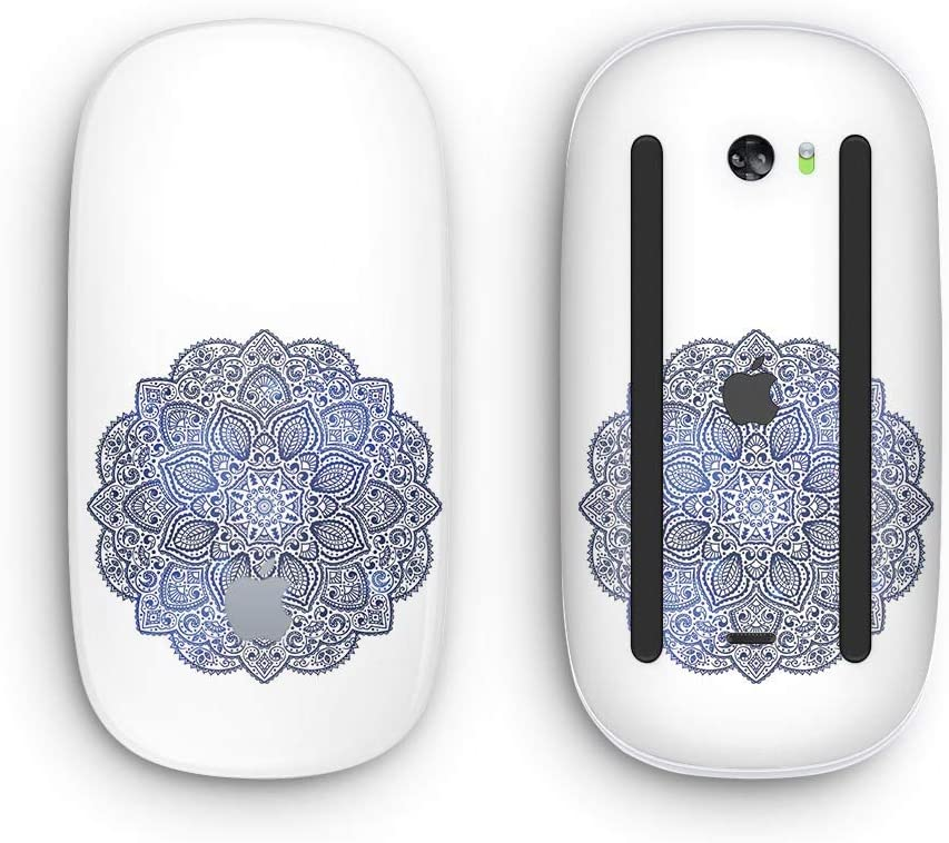 Dark Blue Indian Ornament Design Skinz Premium Vinyl Decal for The Apple Magic Mouse 2 with Multi-Touch Surface Wireless, Rechargable