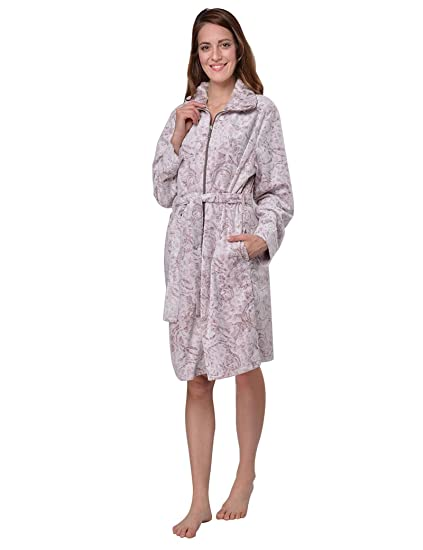 224cb7c502 RAIKOU Ladies Luxury Bathrobe Dressing Gown Sauna Coat Loungewear Soft and  Super Fluffy Coral Fleece Relax Terry Microfiber with Burnout Technique and  ...