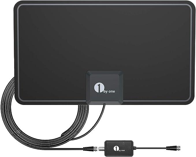 Antena de TV, 1byone Antena de HDTV para Interiores con excelente Rendimiento para TDT Digital y señales de TV analógicas, VHF/UHF/FM, Antena de ...