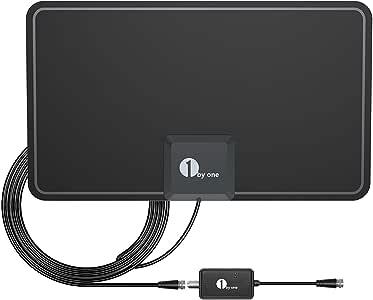 Antena de TV, 1byone Antena de HDTV para Interiores con excelente Rendimiento para TDT Digital y señales de TV analógicas, VHF/UHF/FM, Antena de Ventana, Diseño Suave con Amplificador de señal: Amazon.es: Bricolaje