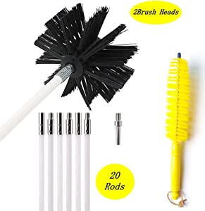 26 Feet Dryer Vent Cleaning Brush, Lint Remover,Fireplace Chimney Brushes, Extends Up to 26 Feet, Includes 20 Flexible Rods, Two Synthetic Clean Brush Heads, 1 Dryer lint Vent Trap Cleaner Brush .