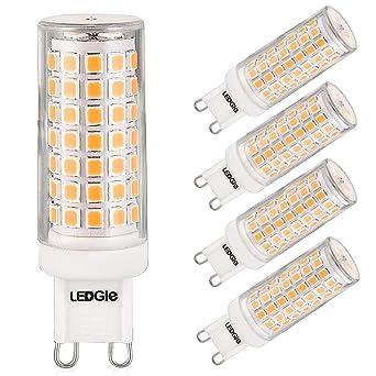 LEDGLE Bombillas LED G9 de 8W, 88 LEDs Blanco Cálido 3000k 700lm, Equivalentes a