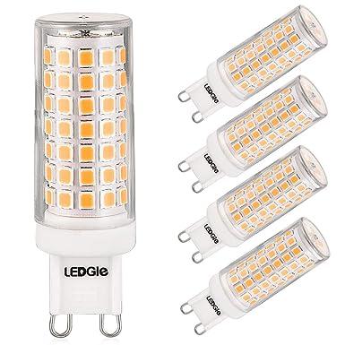 LEDGLE Bombillas LED G9 de 8W, 88 LEDs Blanco Cálido 3000k 700lm,Equivalentes a