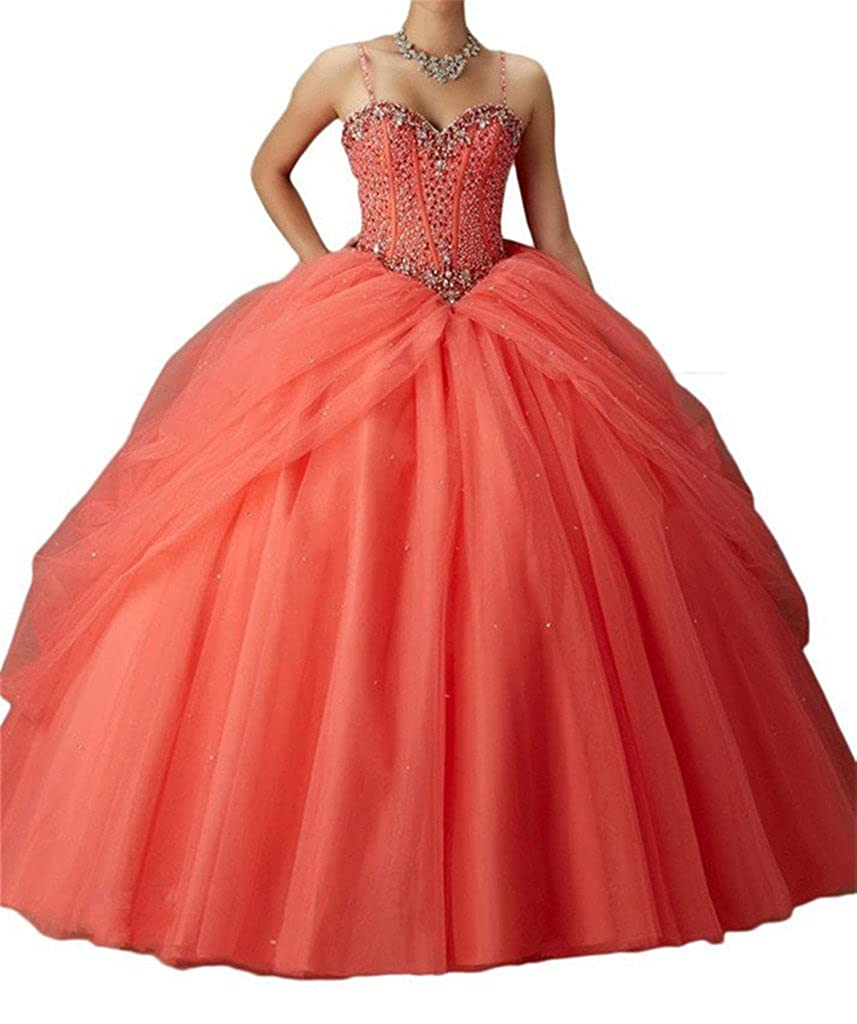 Coral Yang Women's Spaghetti Sweetheart Girls Beaded Ball Gowns Floor Length Quinceanera Dresses
