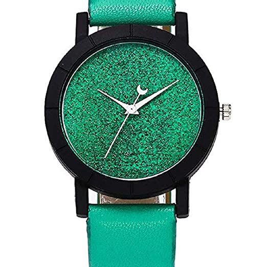 Scpink Mujeres Star Relojes Liquidación Relojes Femeninos Luminoso Lady Relojes Relojes Reloj de Cuero (Verde