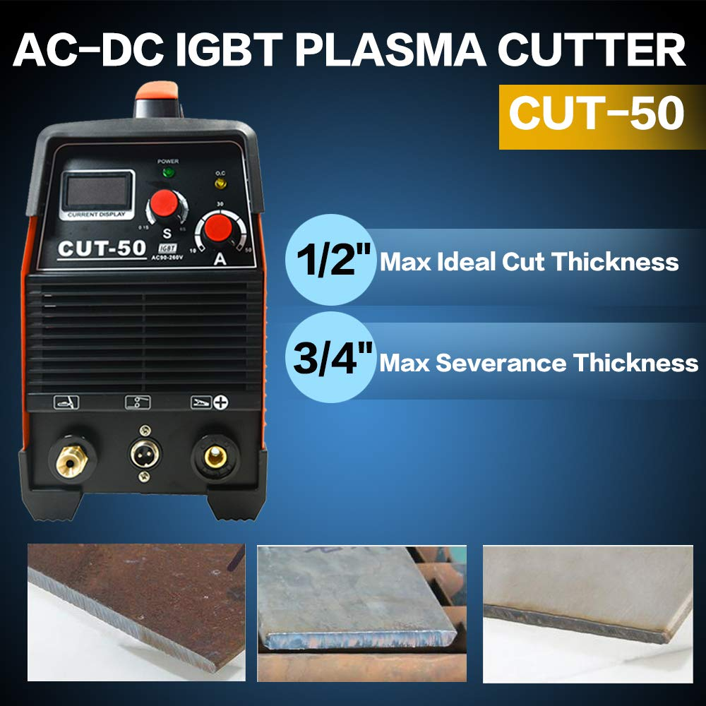 Plasma Cutter, 50A Inverter AC-DC IGBT Dual Voltage (110/220V) Cut50 Professional Fashion Luxury Portable Welding Machine With Intelligent Digital Display Free Accessories by S7 (Image #3)