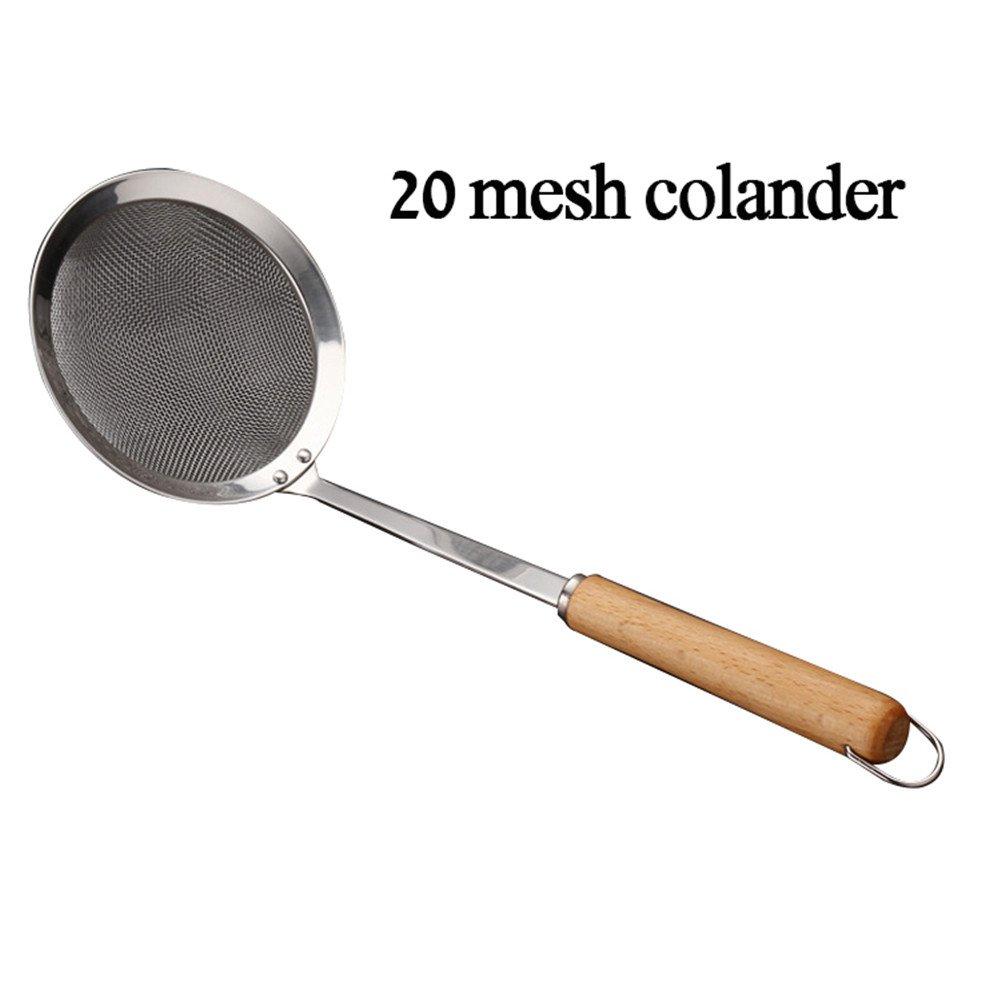 Stainless Steel Skimmer Filter Spoon Spider Strainer Ladle Noodles Picking Frying Sieve Kitchen Gadgets,20 Mesh Colander cheerfullus
