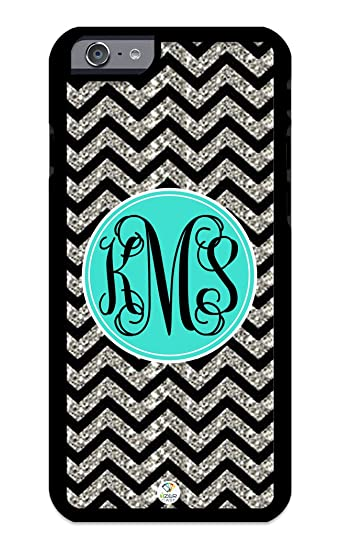 best sneakers c964a ee205 Custom iPhone 6s Case Monogram Personalized Black Grey Turquoise Chevron  Pattern