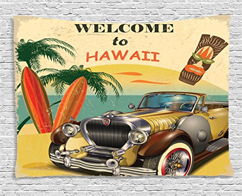 Island Tapestry Car 1960s Decor by Ambesonne, Welcome to Hawaii Retro American Pop Art Print with Car Palms Tribal Mask and Surfboards , Bedroom Living Room Dorm Wall Hanging, 80 X 60 Inches, Multi (Surfboard Hanging Wall)