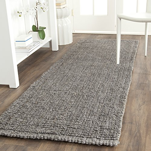 (Safavieh Natural Fiber Collection Hand Woven Light Grey Jute Runner (2'6