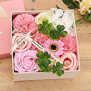 NIHAI Artificial Flower DIY Rose Soap Flower, Carnation Rose Small Square Gift Box, Bouquet Wedding Home Festival Gift, Mothers' Day (6x6x3.2inch) 90