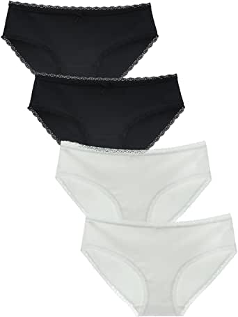 LIQQY Women Cotton Bikini Brief Hipsters Lace Panty 4Pack