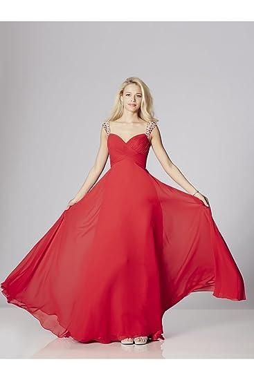 Tiffanys Illusion Prom Red Sonia Chiffon Dress with Crystal Straps UK 6 (US 2): Amazon.co.uk: Clothing