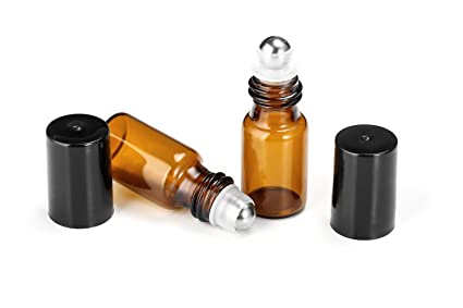 5acbc4aab33b 10 Pcs 3 ml Roller Ball Bottles Empty Refillable Amber Glass Bottle For  Essential Oil Aromatherapy Perfumes Lip Balms