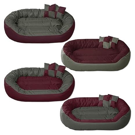BedDog 4 en 1 Sunny Burdeos/Gris XL Aprox. 85x70cm colchón para Perro,