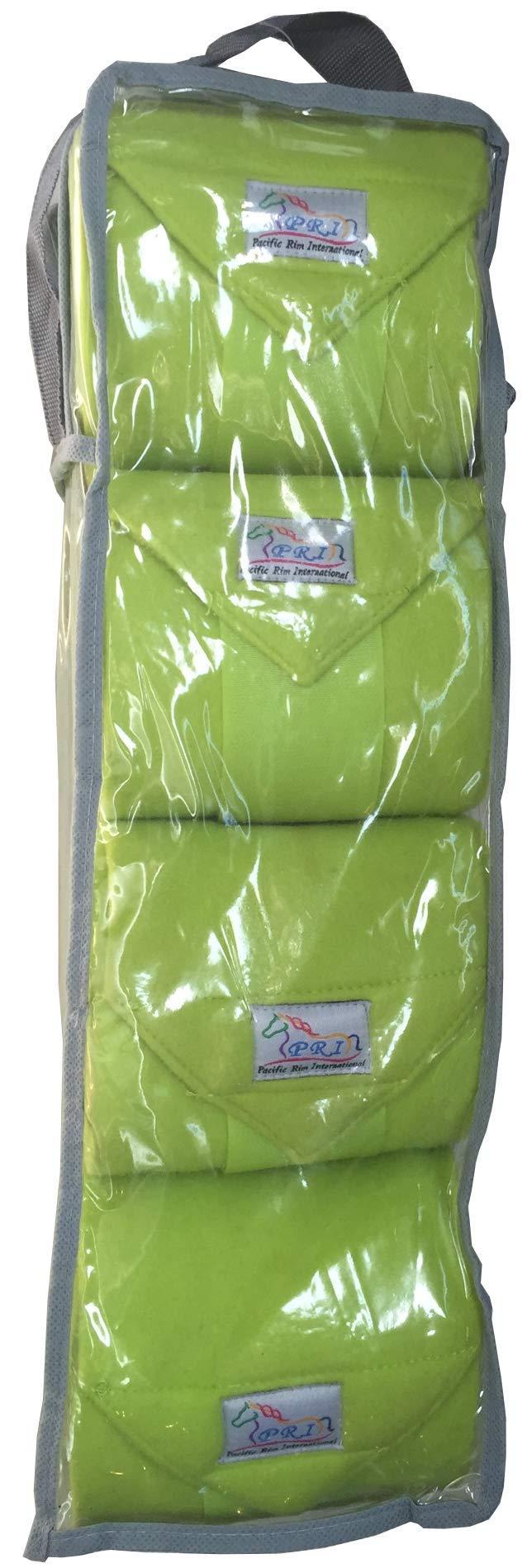 Set of Four Fleece Polo Wraps, Lime Green, Horse Size by PRI Horse Leg Protection