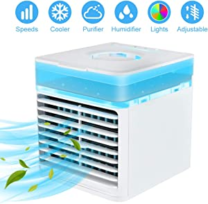Portable Air Conditioner Fan, AUSHEN Personal Air Cooler Mini Air Conditioner Evaporative Air Cooler with 3 Speeds, 7 Color LED Light, Desktop Table Cooling Fan for Home Bedroom Office