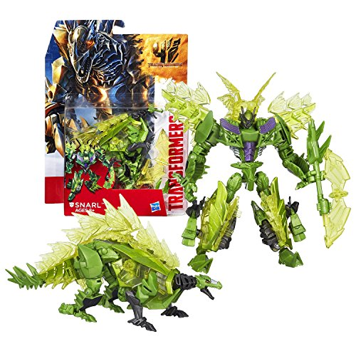 - Hasbro Year 2014 Transformers Movie Series 4 Age of Extinction Deluxe Class 5-1/2 Inch Tall Robot Action Figure - Autobot SNARL with Battle Axe (Beast Mode: Stegosaurus)