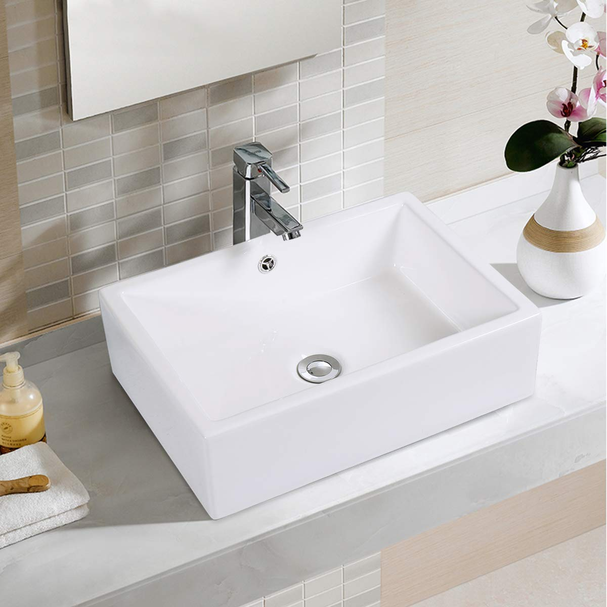 Giantex 20-Inch Bathroom Rectangle Ceramic Vessel Sink Vanity Pop Up Drain Art Basin