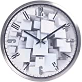 Color Map Products Modern Wall Clock, 12 Inch Silent Non Ticking Quality  Quartz Battery