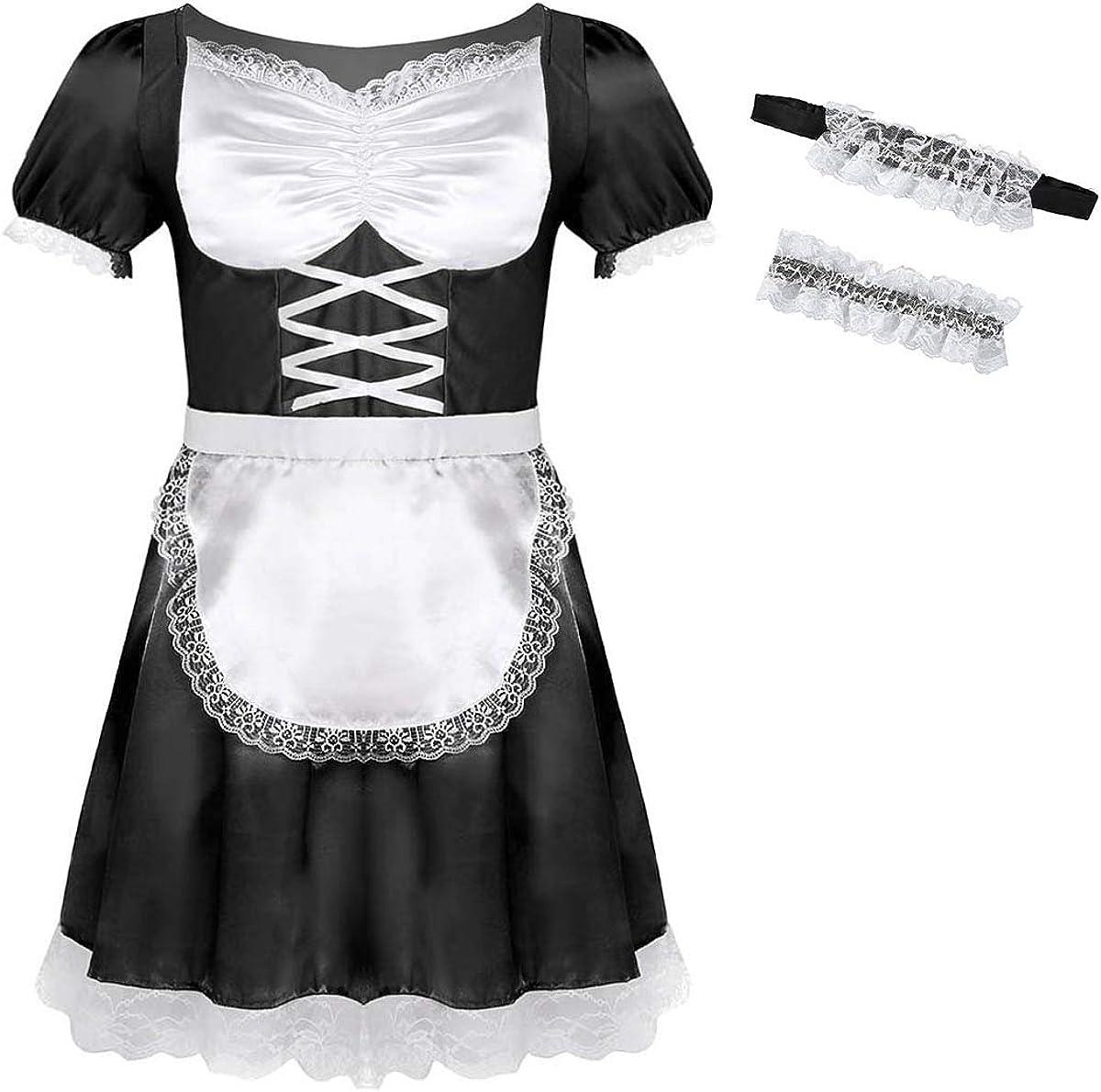 satin Sissy maid mini dress cross dressers