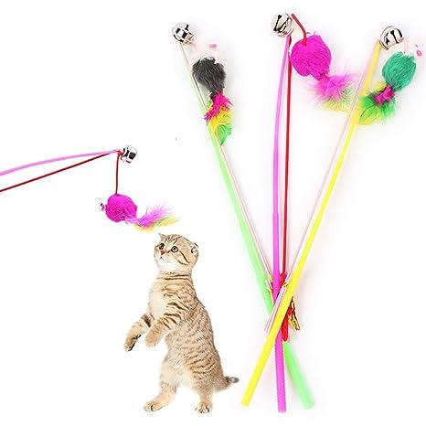 Fossrn 1PC Mascotas Juguetes Gatos interactivos Juguetes Gatos Plumas Juguetes Gatos Divertidos Caña de Pescar Gato