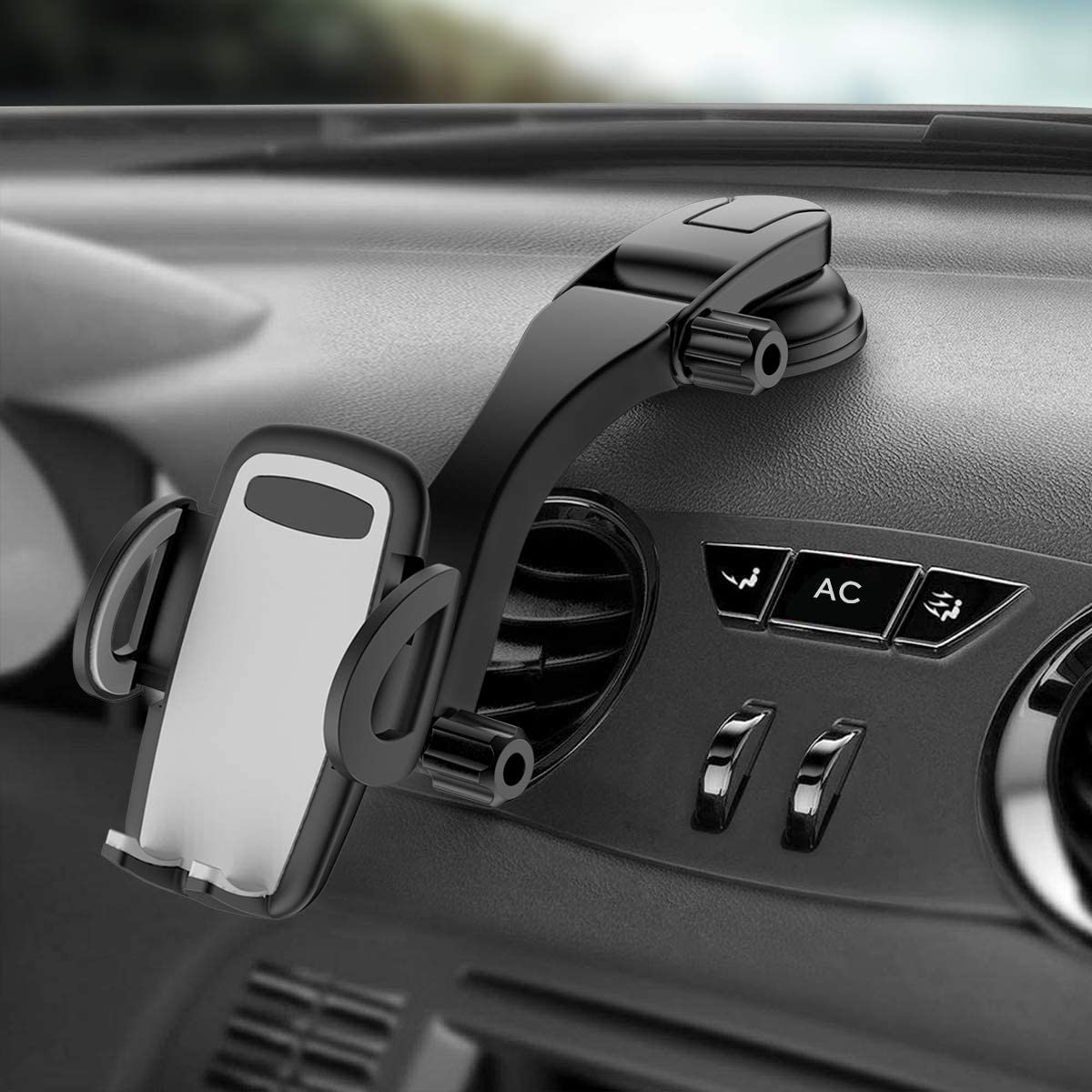 Dashboard Car Phone Holder Car Phone Mount Washable Strong Sticky Gel Pad with One-Touch Design Compatible iPhone 11 pro,11 pro max,X,XS,XR,8,7,6 Plus,Galaxy S7,8,9,10,Google Nexus