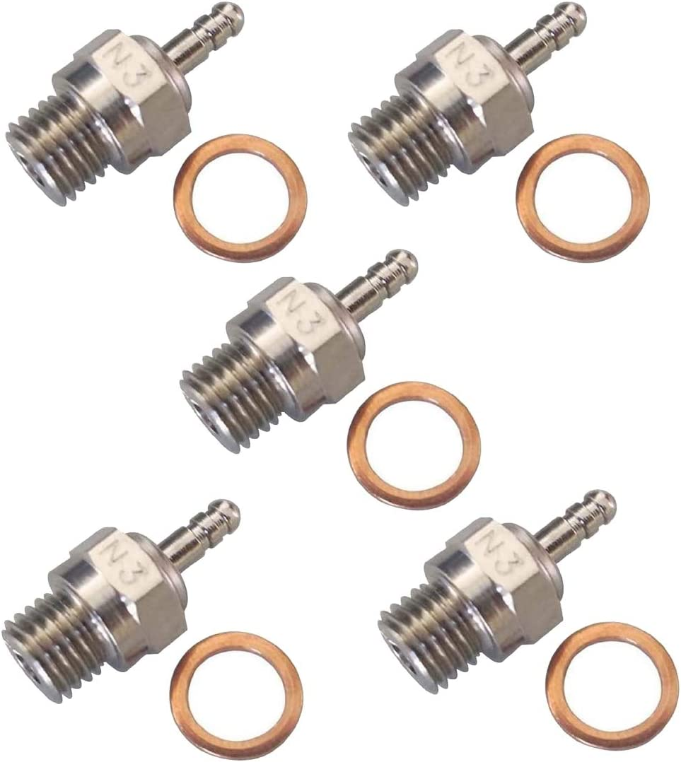 SNOWINSPRING 5Pcs N3 Glow Plug Nitro Truck Hot Spark Apex SH Engine Parts Accessories Replacement OS RC Model Car HSP 70117