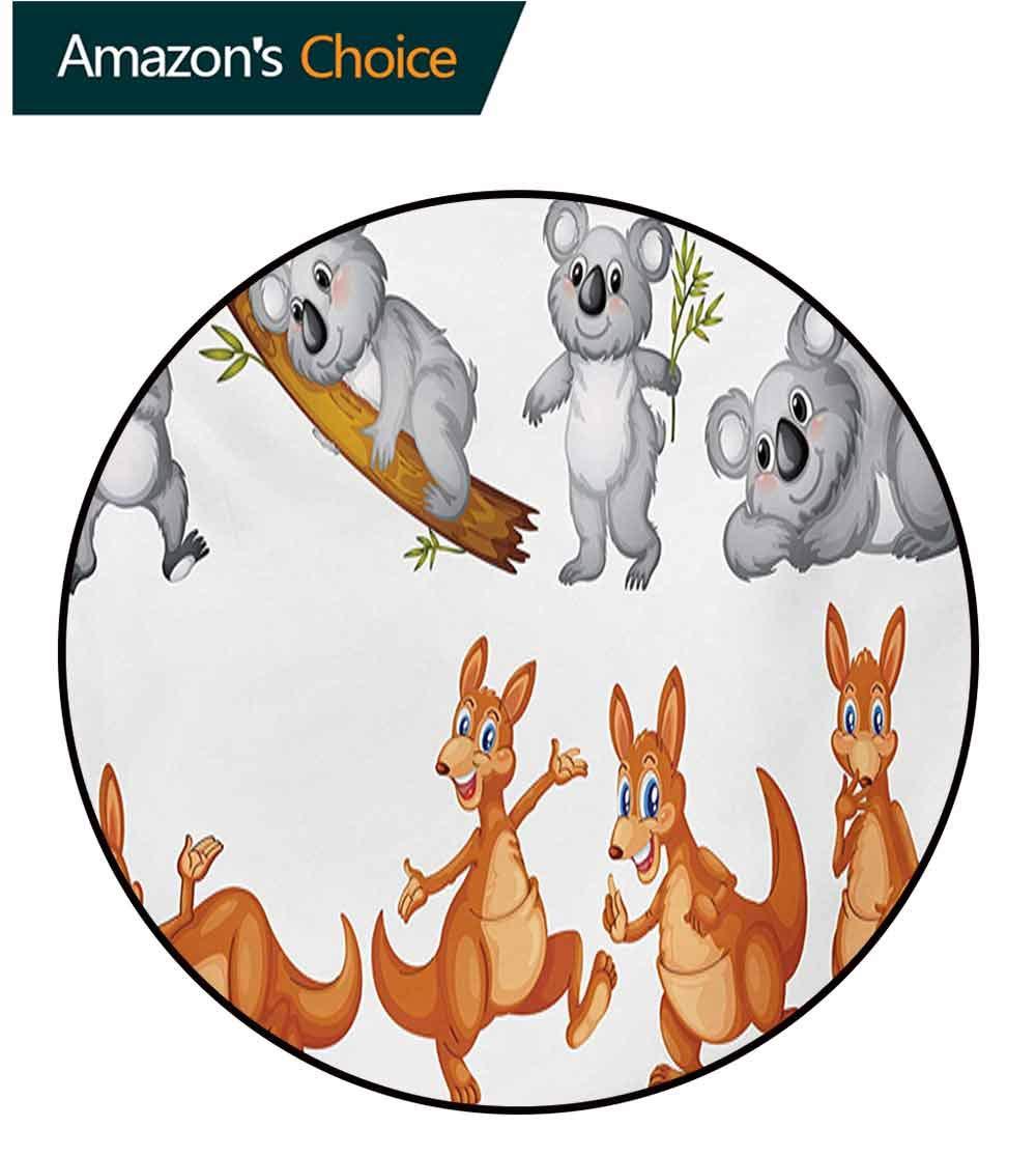 RUGSMAT Tropical Animals Small Round Rug Carpet,Australian Baby Kangaroos and Koala Bears in Different Positions Art Print Door Mat Indoors Bathroom Mats Non Slip,Round-55 Inch Grey Borwn