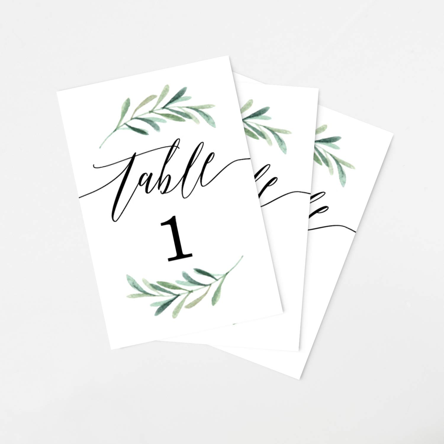Tumbalina Wedding Table Numbers, Botanical Greenery Design, 4x6 Calligraphy Design, Double Sided, Numbers 1-25