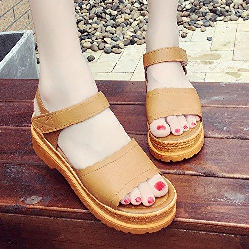 RUGAI-UE Suela gruesa Puntilla sandalias Verano Magic Stick zapatos cómodos slip Dark Brown