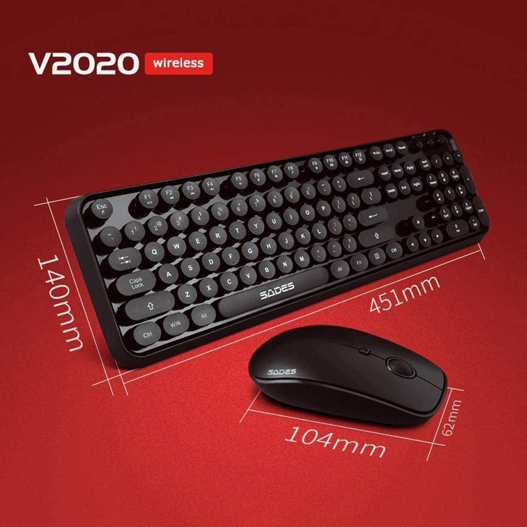YXNN Wireless Keyboard Mouse Set Color : A Gaming Keyboard Mouse Combo Working Or Games Punk Round Key Keyboard Mouse Set