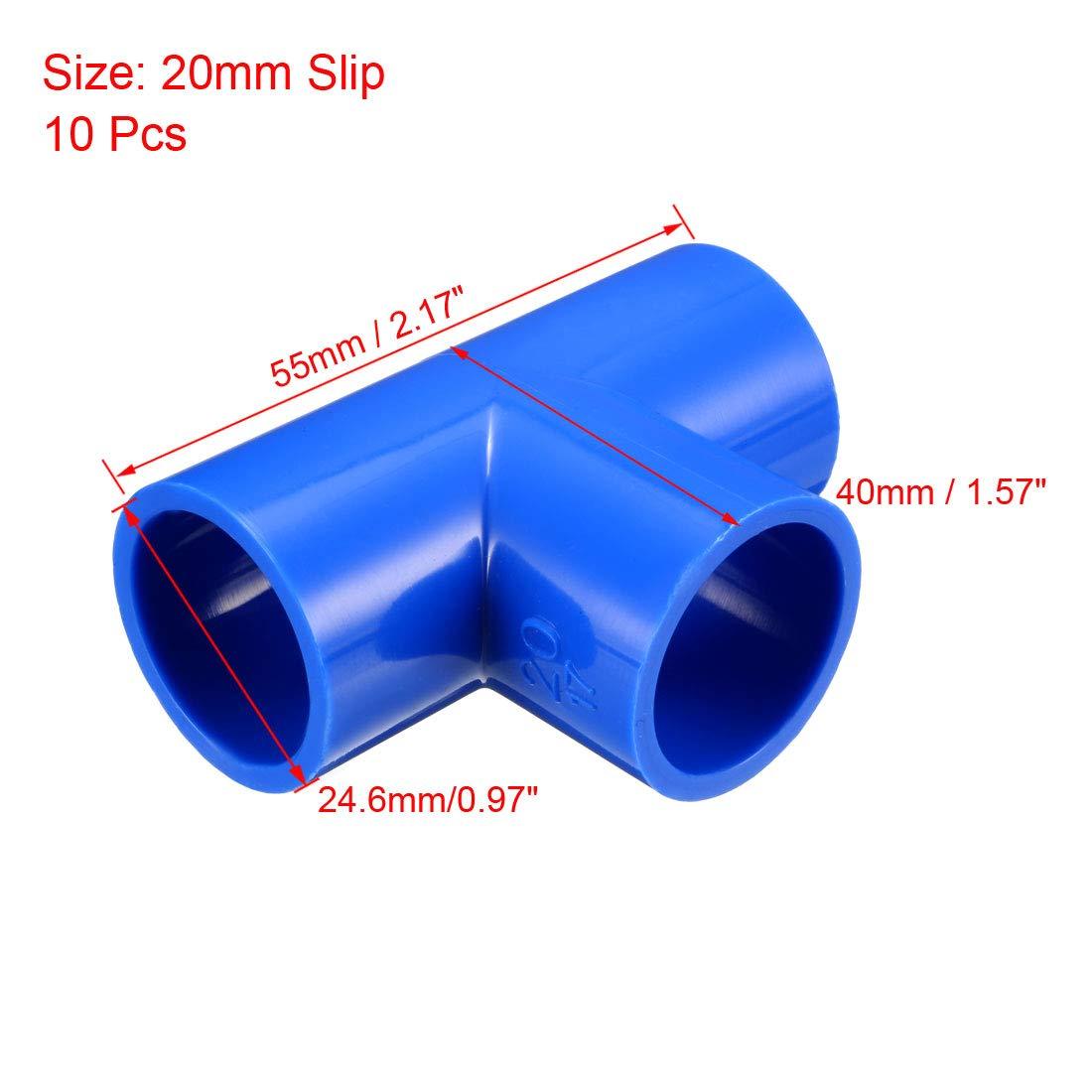 sourcing map 20 mm de deslizamiento en te pvc conexi/ón de tubo en forma de t conector de acoplamiento azul 10 pcs