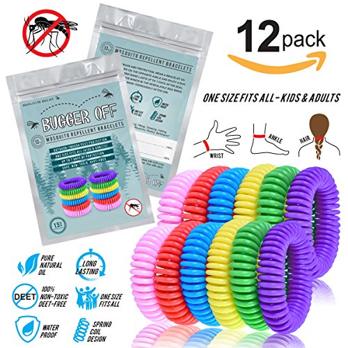 Bugger Off - 12 Pack Mosquito Repellent Bracelet - No Spray Lasting Protection [300 Hrs] - 100% All Natural Non-Toxic Oils Made from Plants - Indoor/Outdoor Use - Best Repeller Men, Women, Kids