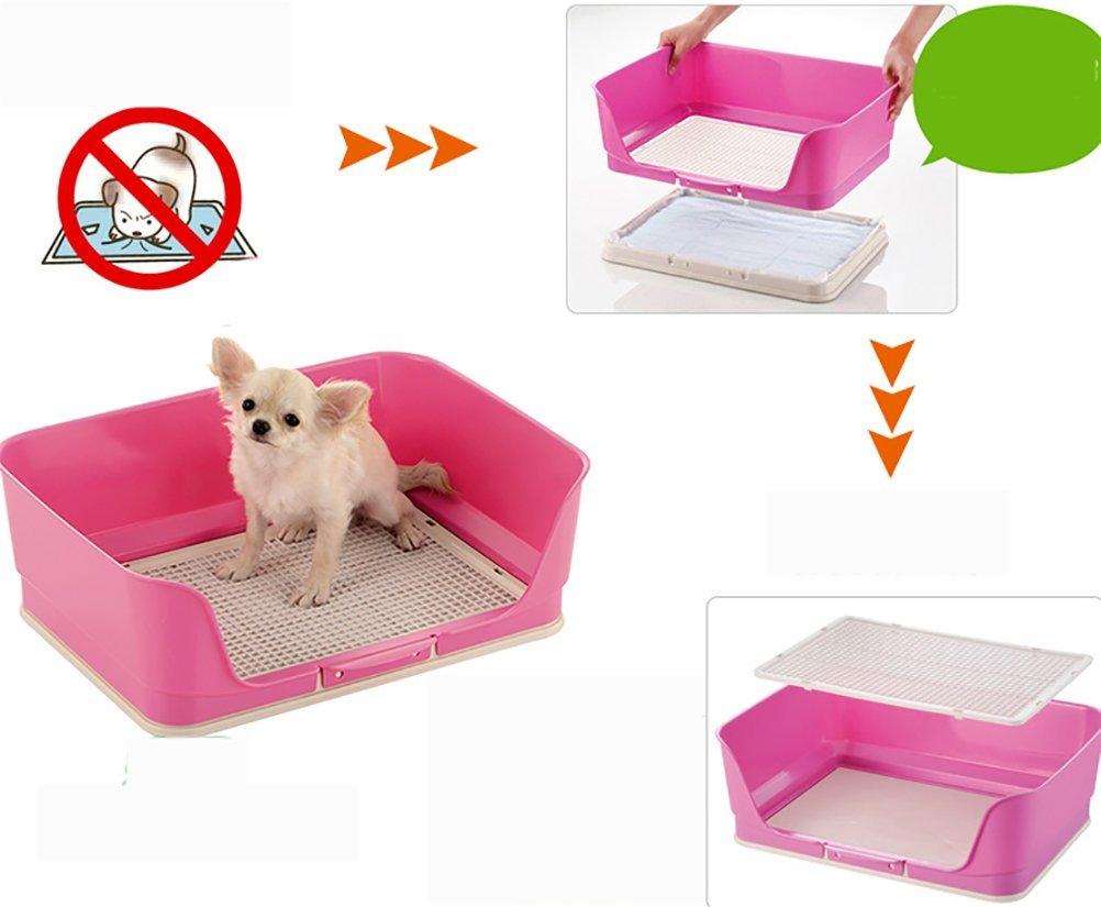 Caja De Arena De La Bandeja De Entrenamiento De La Bandeja De Entrenamiento del PIS del Inodoro Cercado Plástico Portátil para El Perrito del Perro,Pink: ...