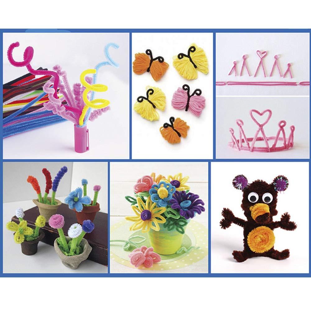Nuluxi Scovolini Pipa Colorati Decorativi Ciniglia Steli Pulizia Tubi in ciniglia Occhi Adesivi Autoadesivi per Bambini Regali Creativi per Creative Handmade Artigianato DIY Decorazione del Partito