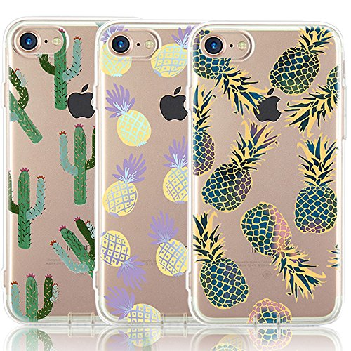 iPhone 7 Case, iPhone 8 Case, [3-Pack] CarterLily Fruits Pineapple Design Pattern Soft Clear Flexible TPU Back Case for iPhone 7 iPhone 8 - Pineapple