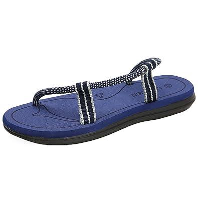 395bdb00b59 CHENGYANG Unisexe Homme Femme Couples Tongs Bout Ouvert Plat Sandales  Chaussures de Plage (Foncé Bleu