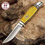 Kissing Crane Yellow Jigged Bone Hunter Knife