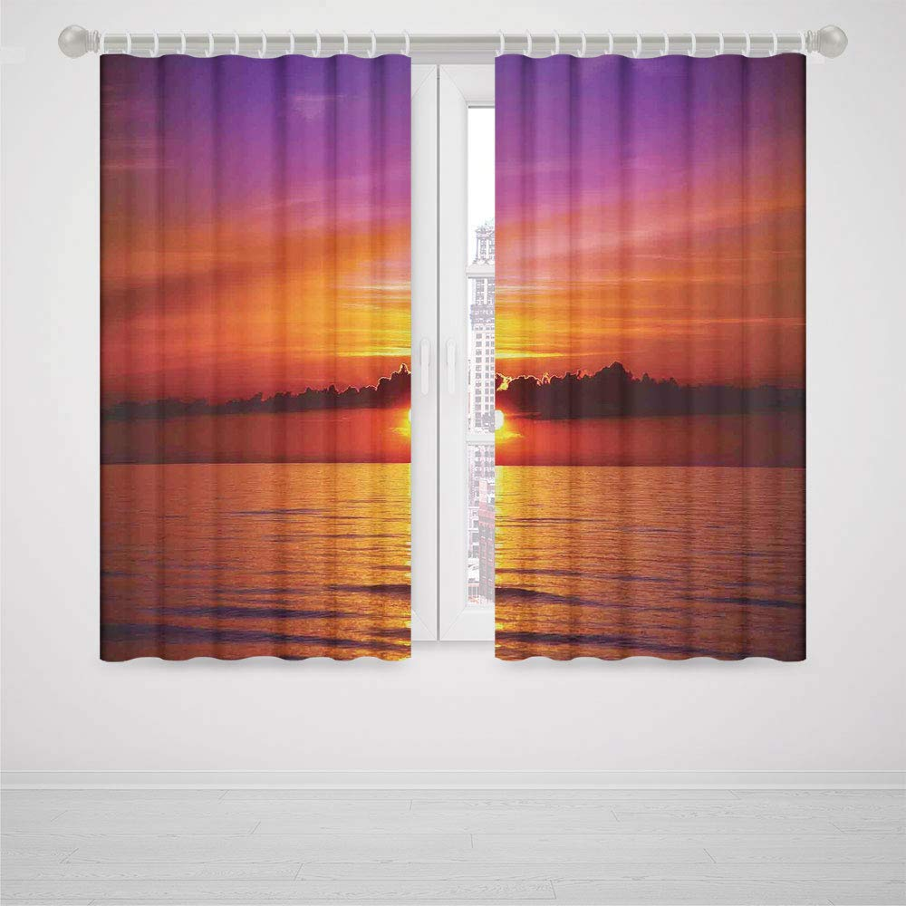 iPrint Pony Dance Blackout Curtains Ocean Decor Romantic Sunset on The Beach Sunlight Reflection on The Sea Colorful Sky Picture High-Precision Blackout CurtainRed Purple