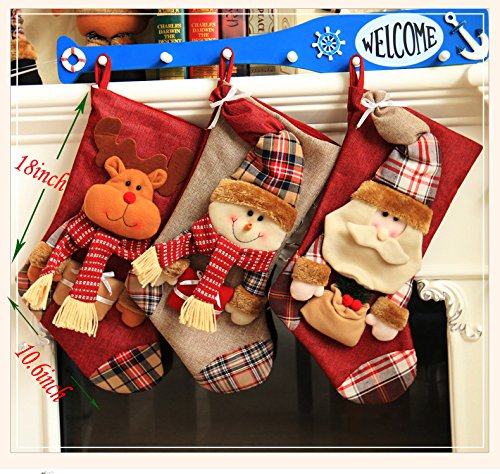Bister Set of 3 Classic Christmas Stockings 18 inches Santa's Stockings Gift Bags Xmas Home Decorations ()