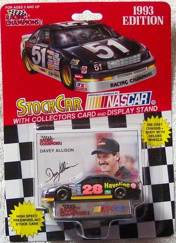 Racing Champion (NASCAR #28 Davey Allison Texaco Havoline 1993 Racing Team Stock Car 1/64 1:64 Scale Diecast With Driver's Collectors Card And Display Stand. Racing Champions Red Background Black Series 51 Car)