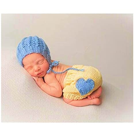 Bebé recién nacido fotografía apoyos niño Niña Gorro de Crochet ...