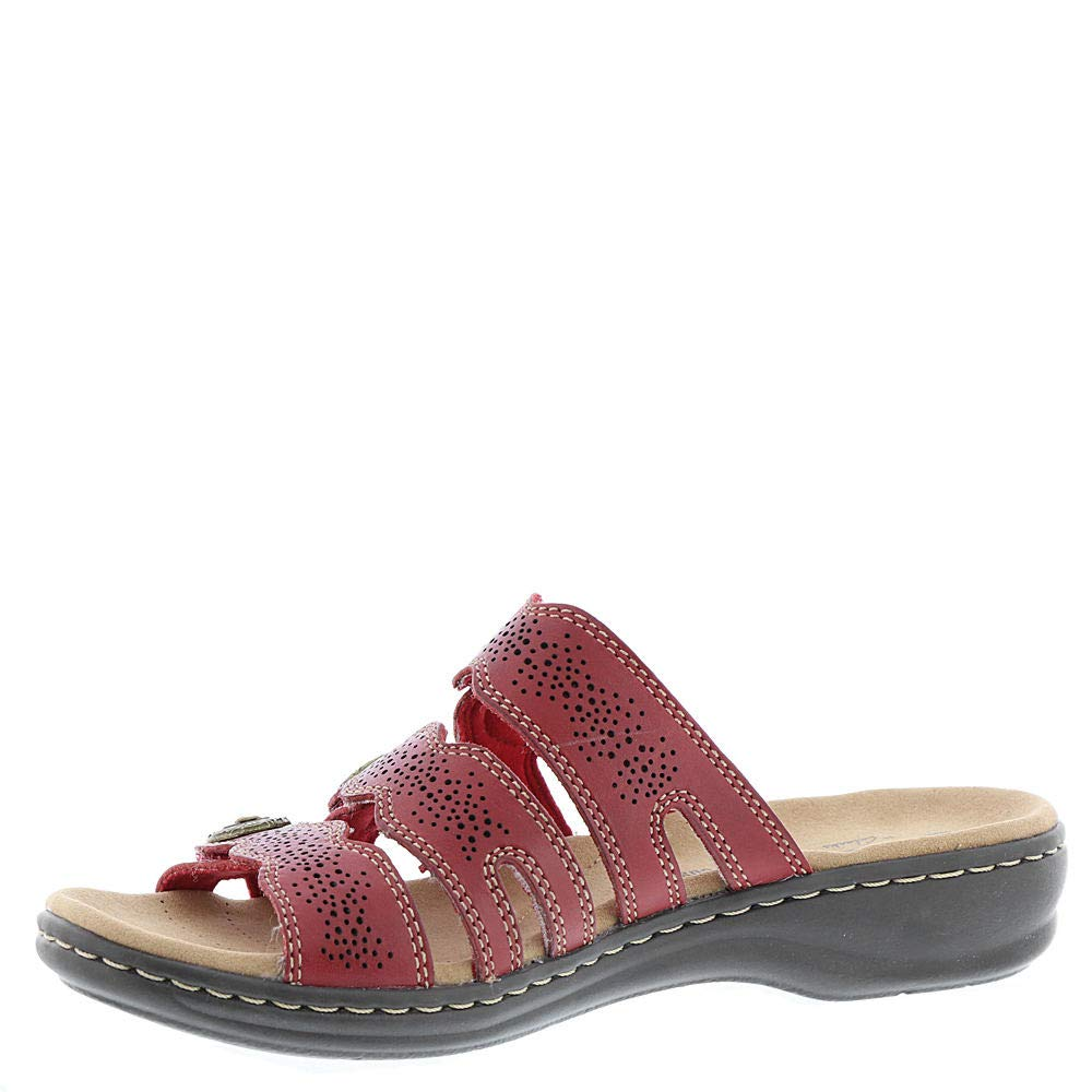 9622304b CLARKS Womens Leisa Grace Leather Open Toe Casual Slide, Red Leather, Size  9.0