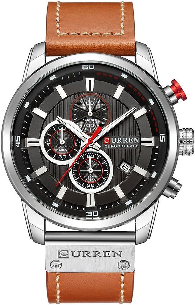 Curren Reloj de pulsera para hombre, de cuarzo, analógico, digital, de piel, informal, para negocios, para hombre