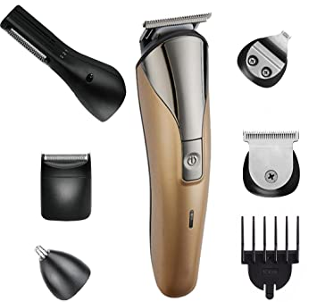 JINDIN Men Electric Hair Trimmer Body Hair Cut Beard Nose and Ear Trimming  Shaver Groomer Clippers Kit with Guide Comb For Home Barber Haircut Machine