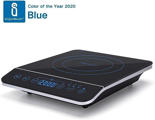 Aigostar BlueFire 30PKZ- Placa de inducción portátil, 2000 W, control táctil, 10 niveles de potencia, temporizador, pantalla digital LED. Para recipientes entre 13 y 24 cm diámetro.: Amazon.es: Hogar
