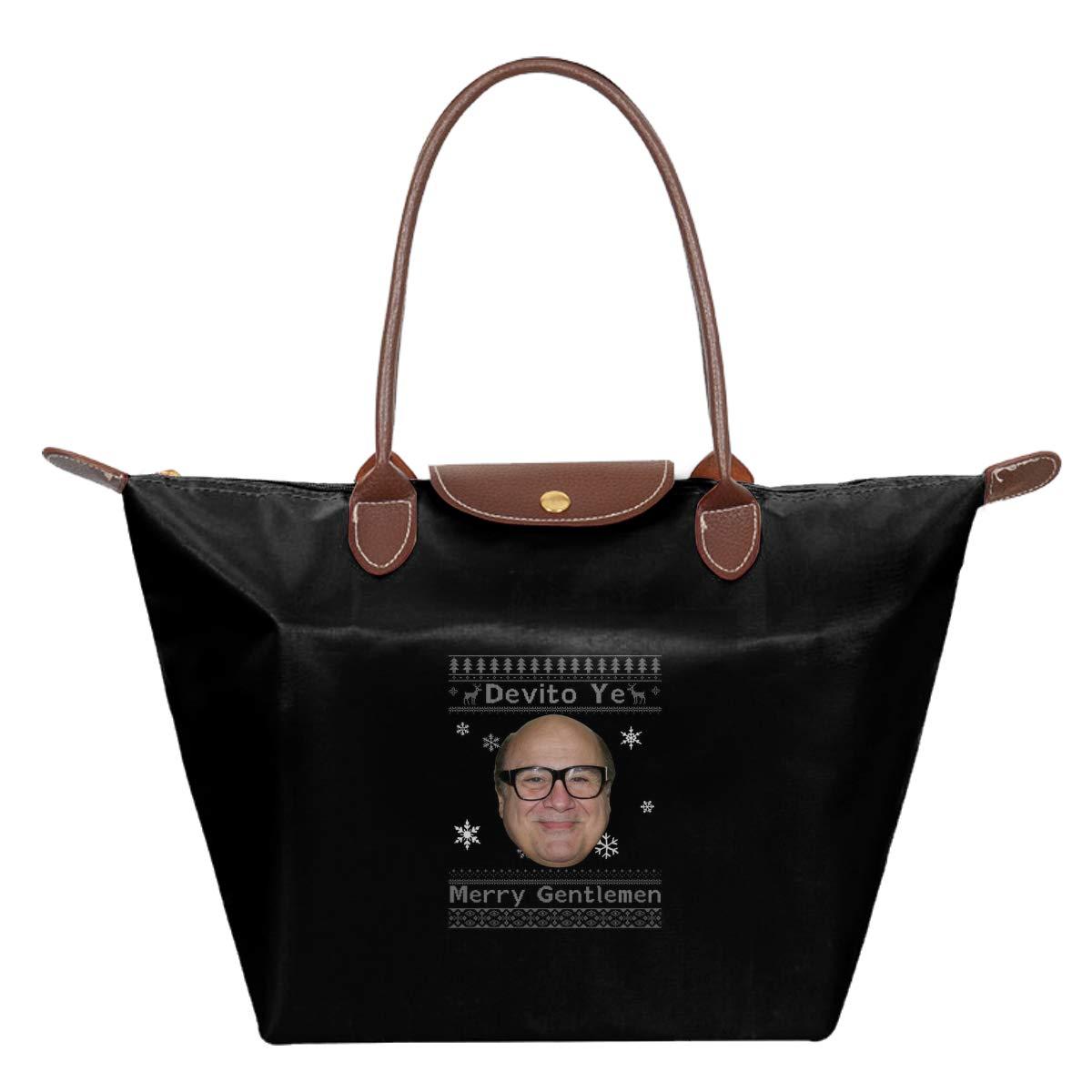 Danny Devito Ye Merry Gentlemen Christmas Knit Waterproof Leather Folded Messenger Nylon Bag Travel Tote Hopping Folding School Handbags